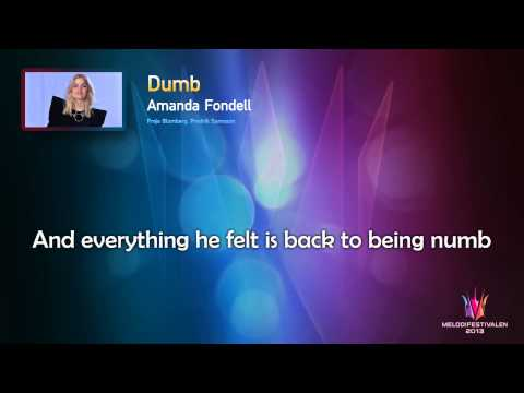 "Amanda Fondell ""Dumb"" -- (On screen Lyrics)"